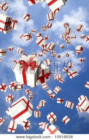 Lots of white gift boxes flying in the air