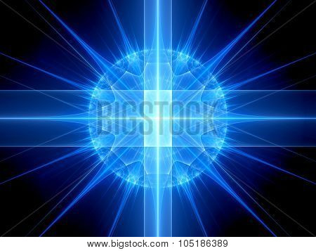 Blue Glowing Spherical Explosion Of New Technology