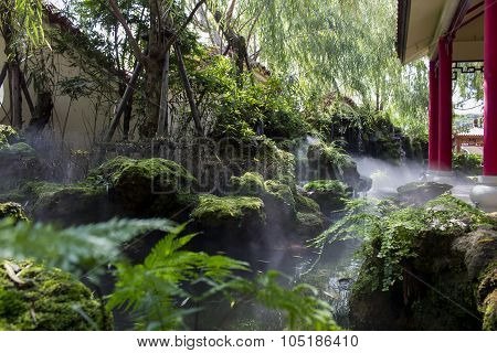 Group Of Rock And Some Fog Floating Up, Beautiful Garden Decoration