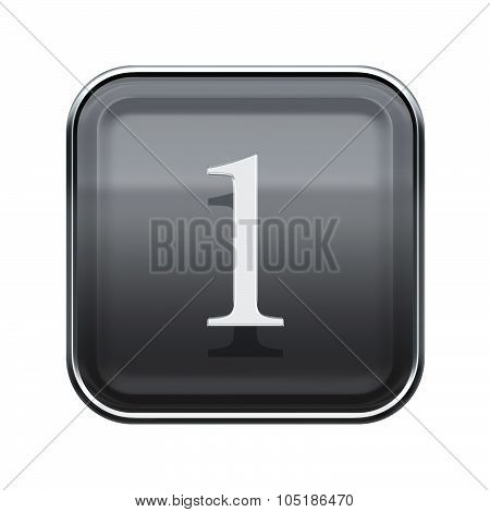 Number One Grey Glossy, Isolated On White Background
