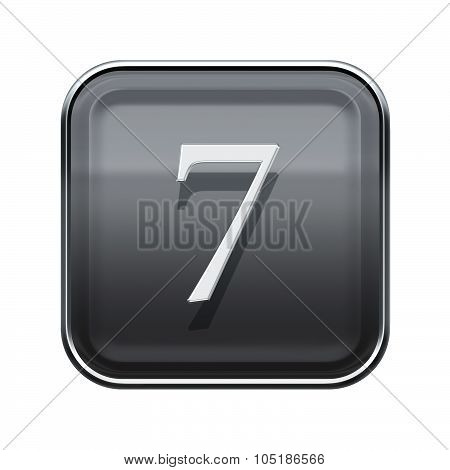 Number Seven Grey Glossy, Isolated On White Background
