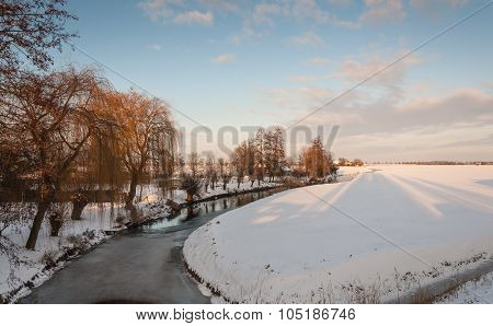 Rural Landscape Covered With Snow