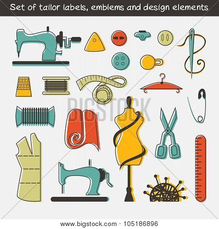 Set of tailor labels, emblems and design elements.