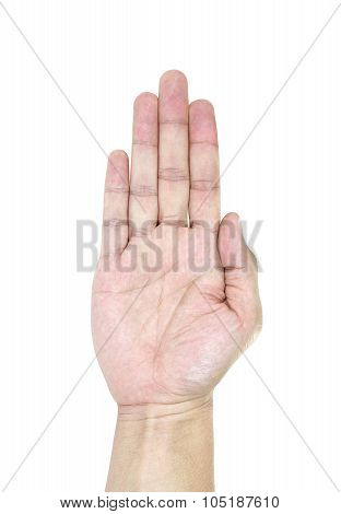 Raise Up Hand Isolated On White Background