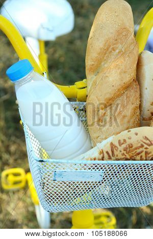 Basket of fresh foodstuffs on bike, outdoors