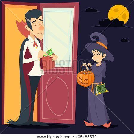 Vintage Happy Smiling Male Vampire Female Witch Halloween Symbol Lifesyle Icon on Stylish Door Backg