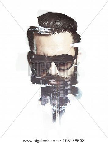Portrait of  bearded man. Double exposure with and city on the background