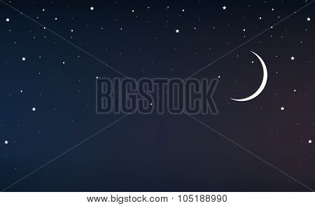 Night Sky With A Crescent Moon And Stars