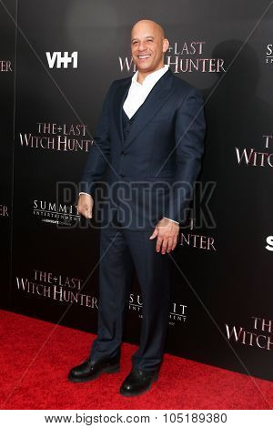 NEW YORK-OCT 13: Actor Vin Diesel attends 'The Last Witch Hunter' New York premiere at AMC Loews Lincoln Square on October 13, 2015 in New York City.