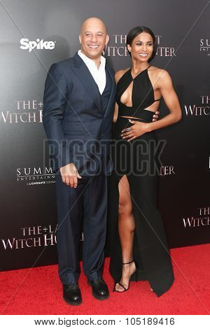 NEW YORK-OCT 13: Actor Vin Diesel (L) and singer Ciara attend 'The Last Witch Hunter' New York premiere at AMC Loews Lincoln Square on October 13, 2015 in New York City.