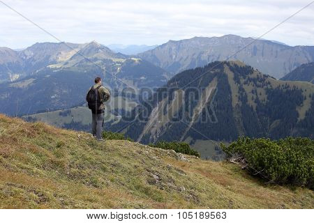 Hiker And Mountain World