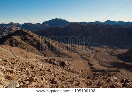The Valley Among The Mountains Of Sinai, The Egyptian Landscape.