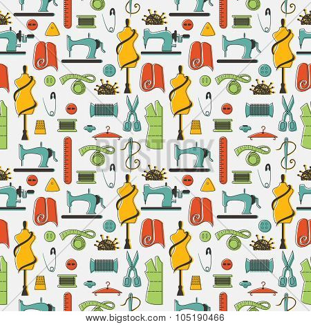 Sewing and tailor elements in seamless pattern.