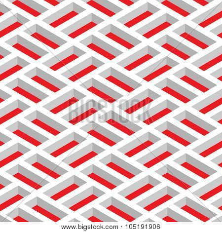 Isometric White Grid On A Red Background. Abstract Geometrical Pattern. Vector Illustration