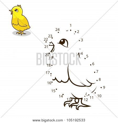 Connect the dots game chicken vector illustration
