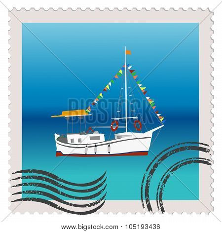 Illustratiuon Of A Postage Stamp With Sailing Ship