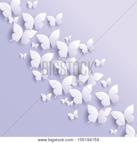 Abstract Background With Butterflies - vector