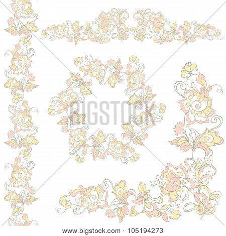 Floral design elements set.