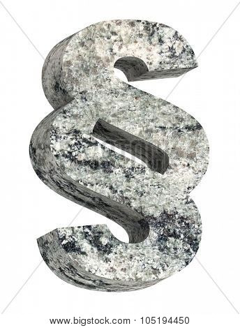 Paragraph sign from granite alphabet set isolated over white. Computer generated 3D photo rendering.