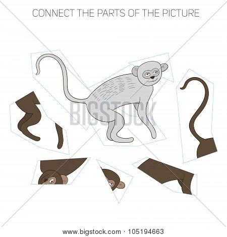Puzzle game for chldren vervet ape