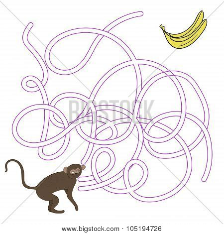 Game labyrinth find a way vervet ape vector