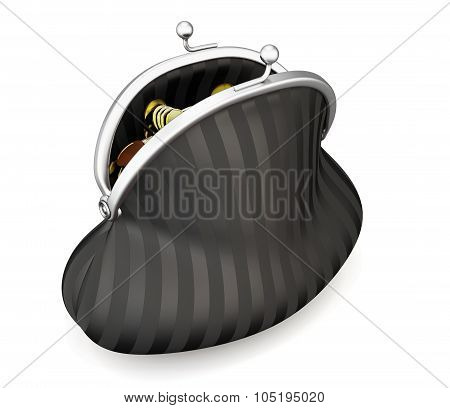 Black Purse Full Of Coins Isolated. 3D.