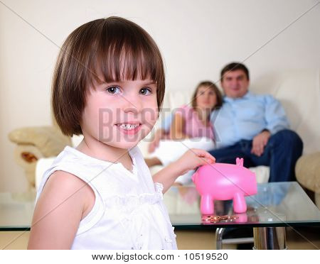 little girl hides her money