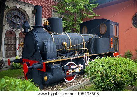 Vintage Locomotive As A Park Decoration