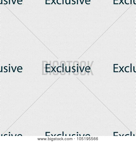 Exclusive Sign Icon. Special Offer Symbol. Seamless Abstract Background With Geometric Shapes. Vecto