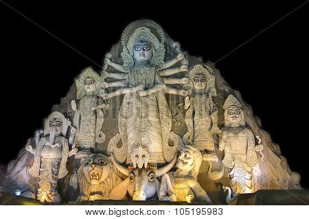 Close Up - World's Biggest Durga Idol At Puja Festival, 70 Feet Tall, Made Of Clay.