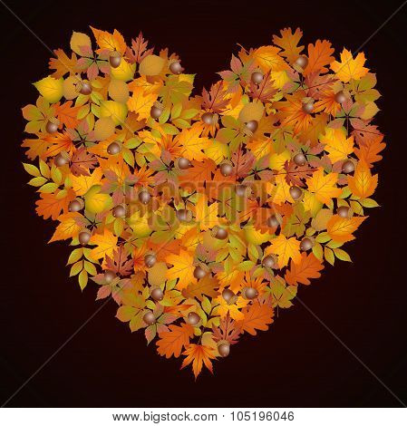 Heart shaped autumn leaves background