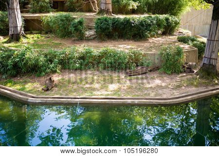 USA, WASHINGTON - AUG 28, 2014: Pennage for animal with a pond in Smithsonian National Zoo.