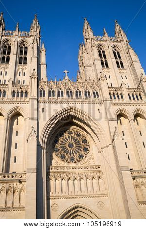 USA, WASHINGTON - AUG 28, 2014: National Cathedral at sunny day.