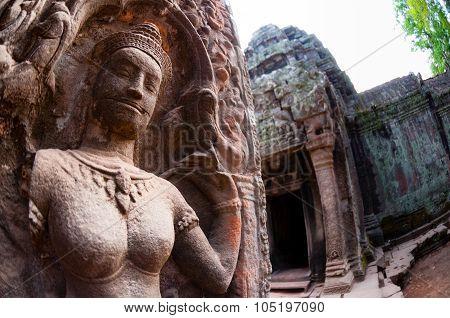 Close-up of Apsara stone carving