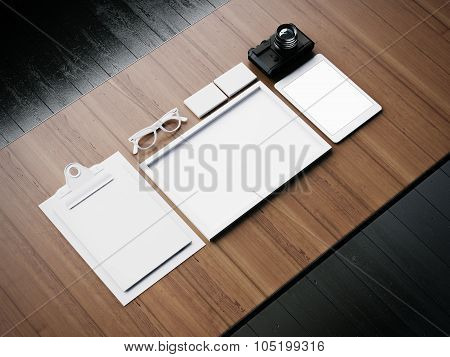 Set of the white business blank elements. 3d render