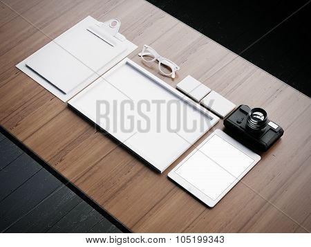 Set of the white classic business elements. 3d render