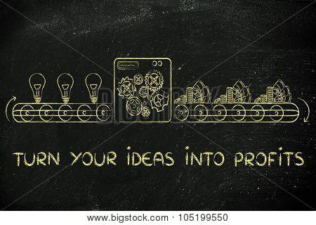 Turn Your Ideas Into Profits: Factory Machine Illustration