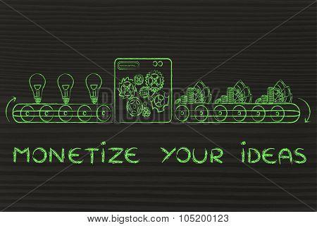 Monetize Your Ideas Into Cash, Factory Illustration