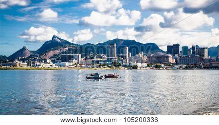 Panoramic view of Rio de Janeiro from sea side, Brazil.
