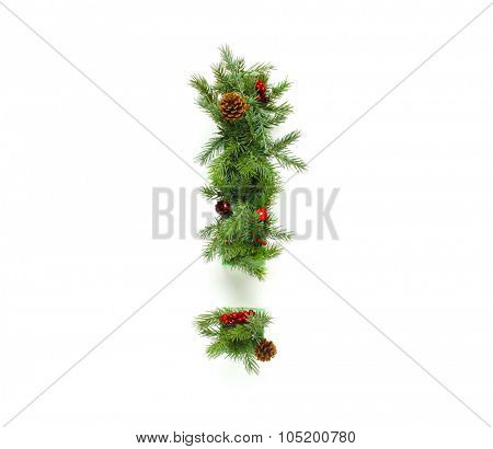 Christmas letters alphabet or font made of pine branches - Exclamation mark