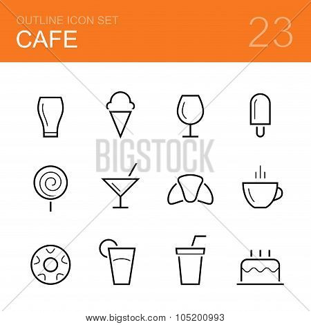 Cafe vector outline icon set