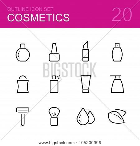 Cosmetics vector outline icon set