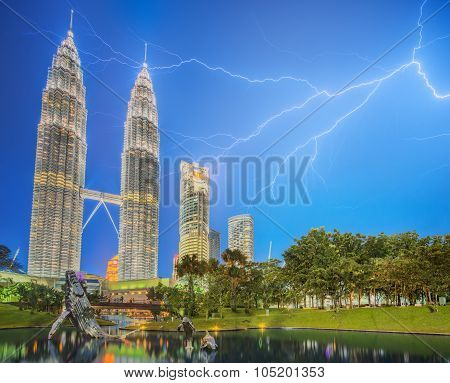 Dramatic scene of thunderstorm on Malaysia