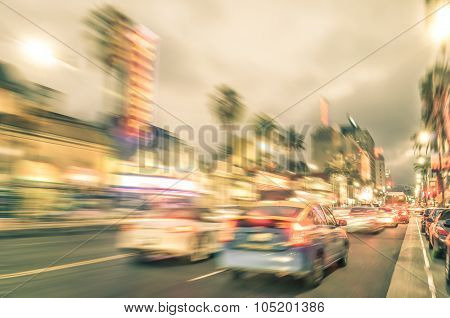 Los Angeles - Hollywood Boulevard Before Sunset - Walk Of Fame On A Defocused Vintage Filtered Look