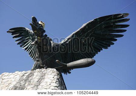 Turul Bird Monument In Hungary Tatabanya. The Turul Is A Mythical Saint Bird Of The Hungarians