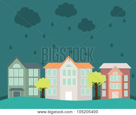 Flood. Street with houses and trees flooded water. Vector illustration