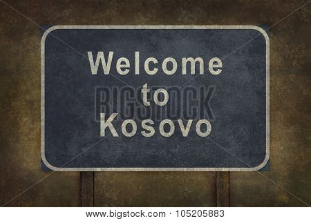 Welcome To Kosovo Roadside Sign Illustration