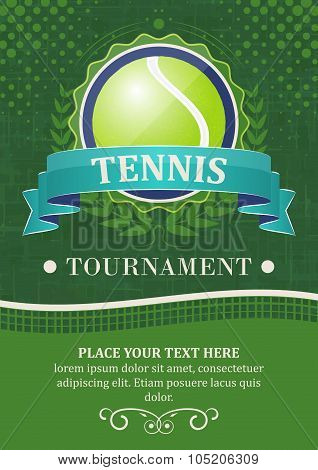 Tennis tournament vector background or poster with tennis ball, ribbon and laurel wreath.