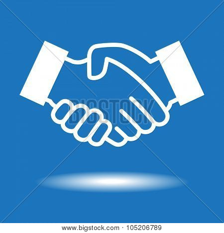 Handshake icon.  White icon on blue background
