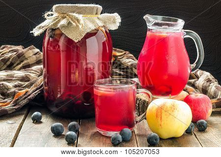 Canned Fruit Compote Of Apples And Blackthorn
